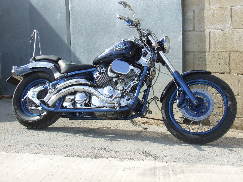 'Lady Jane' raked 650 Dragstar - Candy Blue over Silver Powdercoat, SS spokes and one off SS Devil's tail sissy bar