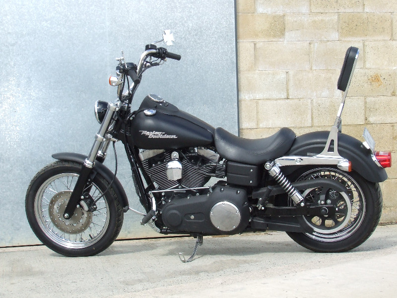 Denim Black Harley Streetbob custom - Satin black finished forklegs huge apes - missing P-pad.